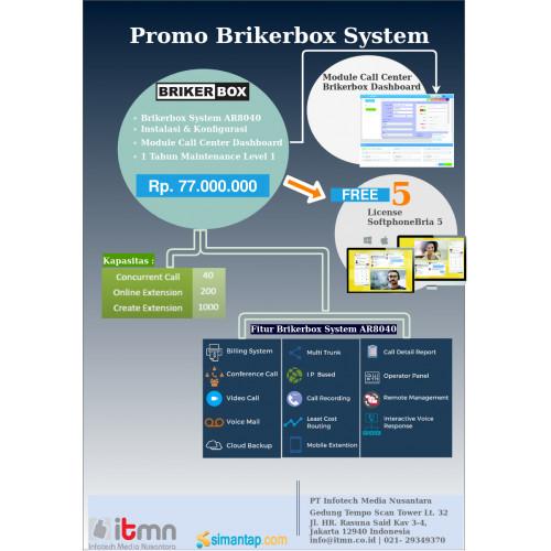 Paket Brikerbox System AR8040 dan Dashboard Free License Softphone Bria 5